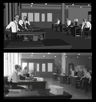 animationtidbits:  Paperman - Mingjue Helen Chen  Paperman is unique in that most of the lighting was placed in the hands of the artist painting that shot, as a result, EVERY shot is individually designed. Some were easy since the crazy awesome Jeff Turley would have a key, others we'd just kind of go with it. Personally, I loved this approach because it gave me a chance to explore lighting scenarios appropriate for the scene and a little for my own satisfaction. I prefer black and white work since color is not my strong suit, so this was a lot of fun for me. We also tried to paint characters in all our scenes, because that would serve as a value guide for the final frame.
