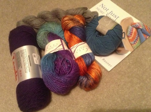 I went to a new yarn store today, and unlike every other yarn store I'd been in before today, they had Lorna's Laces. To be more specific, they had every variety of Lorna's Laces yarn I've ever heard of, including custom dyed batches.  I managed to restrain myself to two skeins. Each one cost as much as all the other yarns and book put together, but I regret nothing.  I may not even make anything with it. I could just spend the rest of my life fondling it and rubbing my face in it and die happy.