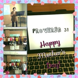 Happy Mother's Day in JIA-ME! Tita Glo talked about Proverbs 31… :) Ang dami mommies na umattend :) Wish Tita Friendship was here :) Thank you Lord for our Church :) @elyzaagcamaran @fatsriiick