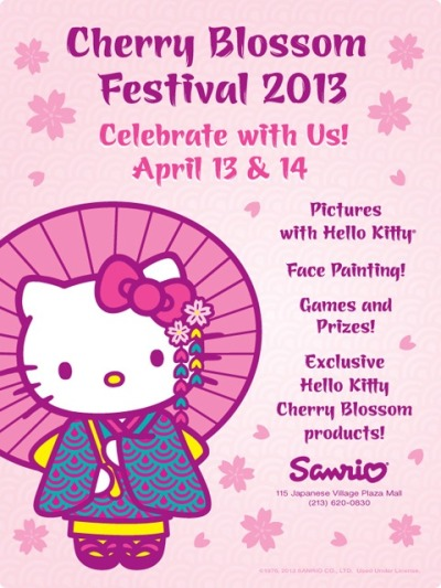 Celebrate the Cherry Blossom Festival tomorrow and Sunday at L.A.'s Japanese Village Plaza. The Sanrio store is featuring face-painting, games, prizes and the opportunity to get your picture with…HELLO KITTY herSELF. Eeeeeeeeee! Eeeeeeeeee! (Calm yourself, girl!)  http://www.japanesevillageplaza.net/ https://www.facebook.com/events/442204009198798/?ref=2
