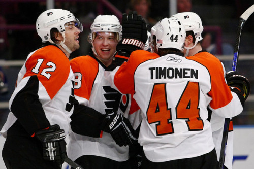 "undercoverdirty:  Simon Gagne, Claude Giroux, Kimmo Timonen, and Mystery Flyer. Look how young Giroux looks.   The ""Mystery Flyer"" Is most likely Mike Richards."