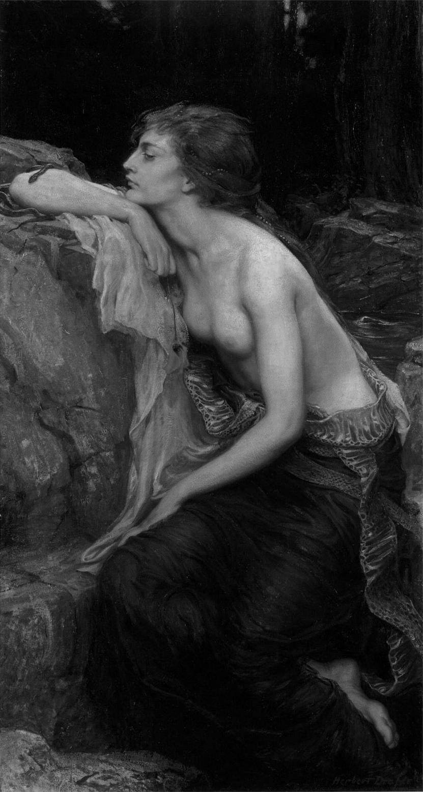"chelsja: The Lamia: In this 1909 painting by Herbert James Draper, Lamia has human legs and a snakeskin around her waist. There is also a small snake on her right forearm. ""In ancient Greek mythology, Lamia was a beautiful queen of Libya who became a child-eating daemon. Aristophanes claimed her name derived from the Greek word for gullet, referring to her habit of devouring children."""