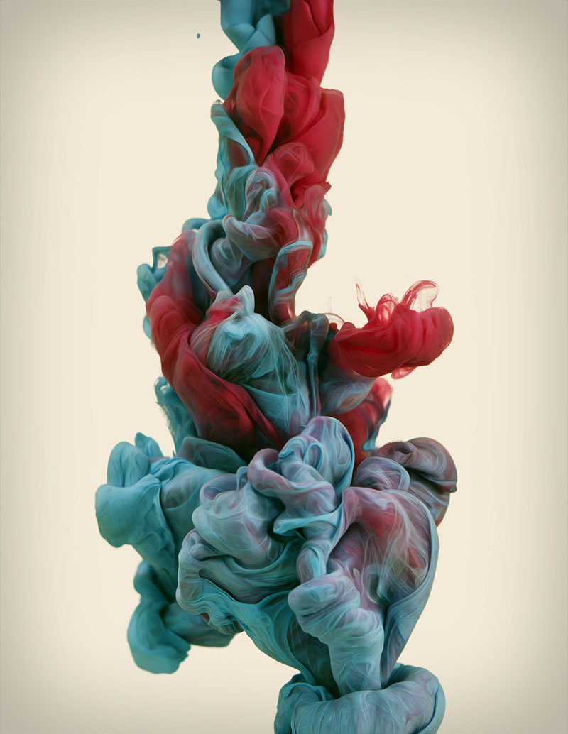 High-speed photographs of ink mixing with water by Alberto Seveso