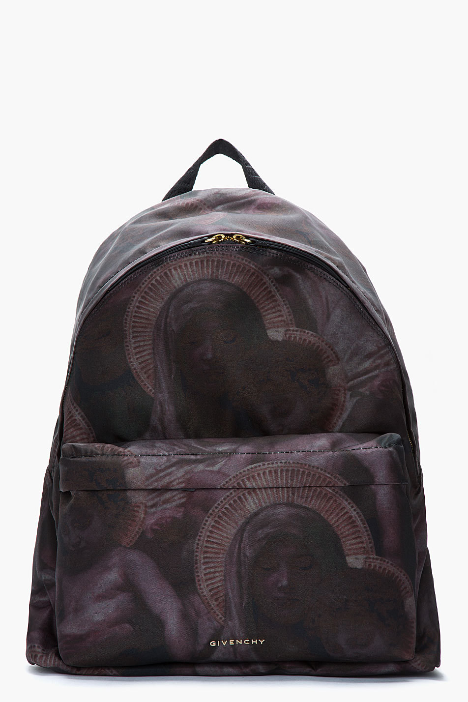 billidollarbaby:  Givenchy Deep purple multi madonna print backpack ($1,135) Purchase Now