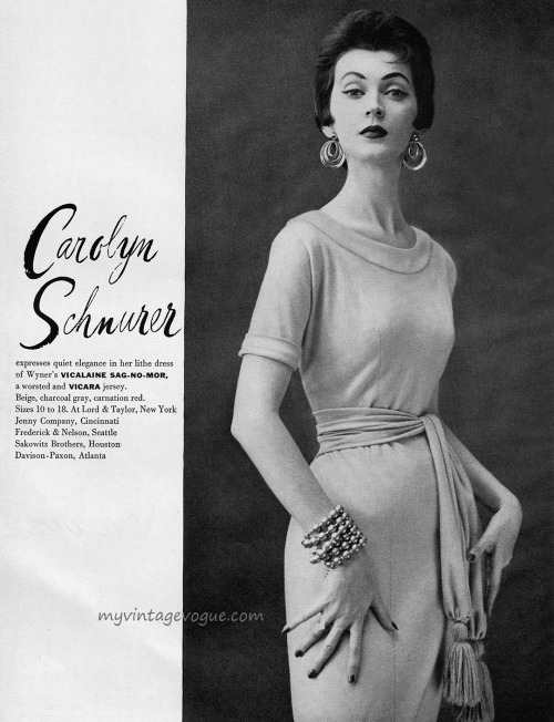 Dovima wearing Carolyn Schnurer 1953