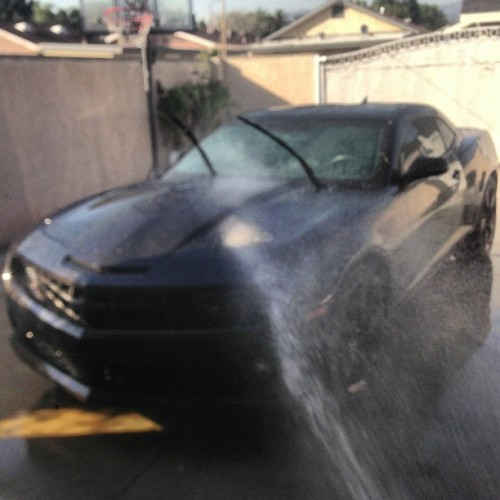 Washing #camaro #ss #blackcamaro #5thgen #blackonblack