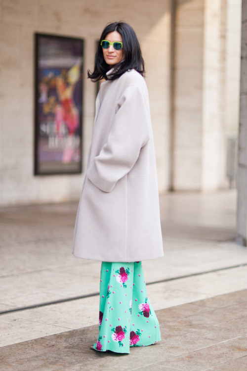 theinsidesource:  FW Style: Elena Moussa Pants: Marc Jacobs | Coat: Rocha | Shoes: Alexander Wang | Sunglasses: Marni (Photo: Melodie Jeng. Text by Jauretsi)