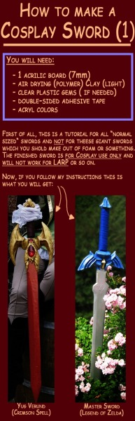 aicosu:  Today on Tutorial Tuesday!!How to make a Generic Cosplay Sword! - by Eressea-samaThis is one of my all time favorite tutorials! It's super easy and cheap, with a unique idea for making handles — and the quality is AMAZING!!! Perfect for making detailed, lightweight  realistic looking broadswords, generic swords and it even works for daggers and knives!!   Part 1.  Part 2. Part 3.