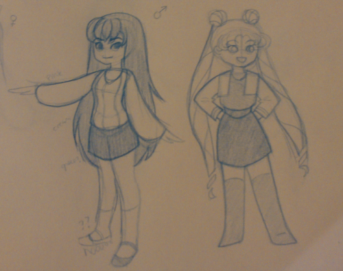 Decided to practice a bit while watching Sailor Moon S. (Mars' legs got away from me OOPS) Their casual outfits can be really cute sometimes, but I'm having a lot of trouble finding one to draw for Venus. A lot of her clothes are just baaad. I'll get Mercury and Jupiter cleaned up soon.