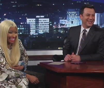 "Last night Nicki sat down with fellow native NY'er Jimmy Kimmel, where she dished on everything from why she walked off the ""American idol"" set, to who would win in a fist fight between her and Mariah Carey see more at http://mypinkfriday.com/news/125163"