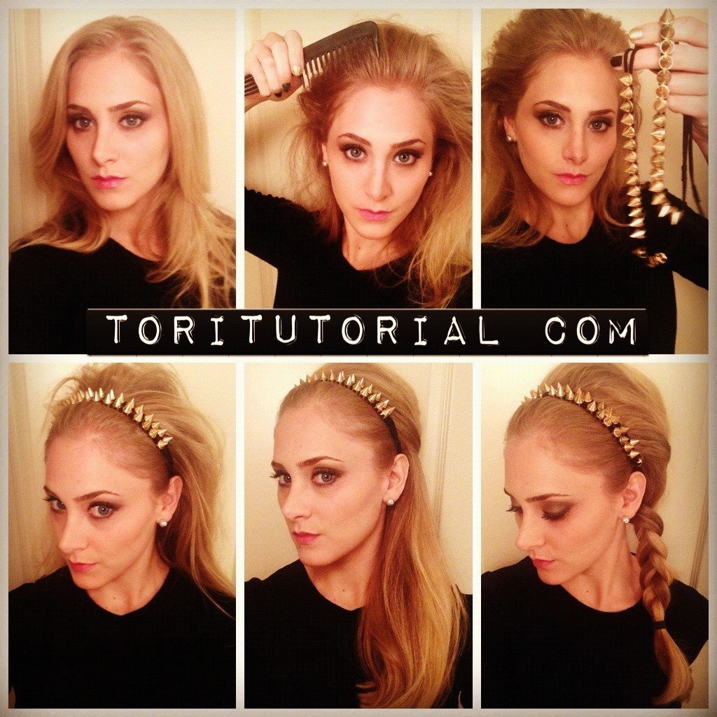 "Studded Braid Look This look takes literally 3 minutes, and adds instant chic-ness to any ordinary outfit.  I picked up these headbands at Forever21.  I layered 2 of them, but you can use just one, or really any type of headband.  1) Start by teasing the crown of your hair as well as around your hairline.  Since you'll be putting headband(s) on you really can't over tease here.  The bigger the better. 2) Put the headbands on just as you normally would. 3) You can re-tease the crown if you'd like, then you're going to pin the ""pouf"" in place using several bobby pins. Spritz with hair spray. 4) Pull remaining hair to one side and put a loose braid in, secure with ponytail holder. That's it—you're done and looking fab!"