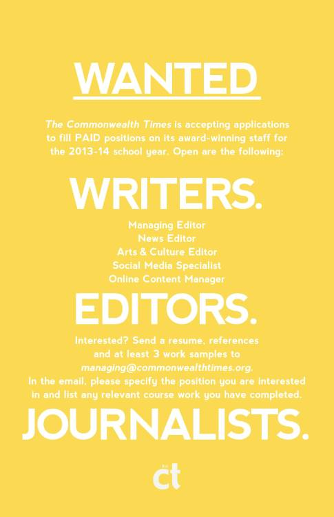 Still accepting applications for Managing Editor, Arts and Culture Editor and Social Media Specialist! Must be a VCU student to apply.