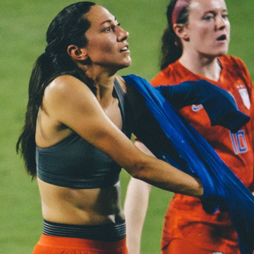 rookieforlife:  twmasters: Why did Christen Press strip down to her sports bra on the field after the game last night? Because a fan asked for her jersey!  Photos by  Tom Masters.