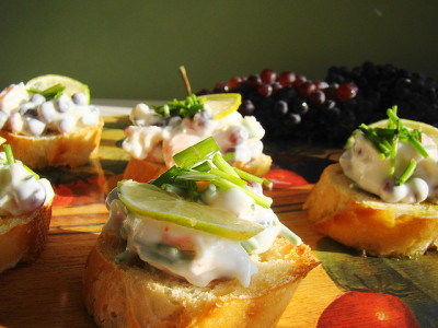 Champagne Grape Bruchetta by Vegan Feast Catering on Flickr.
