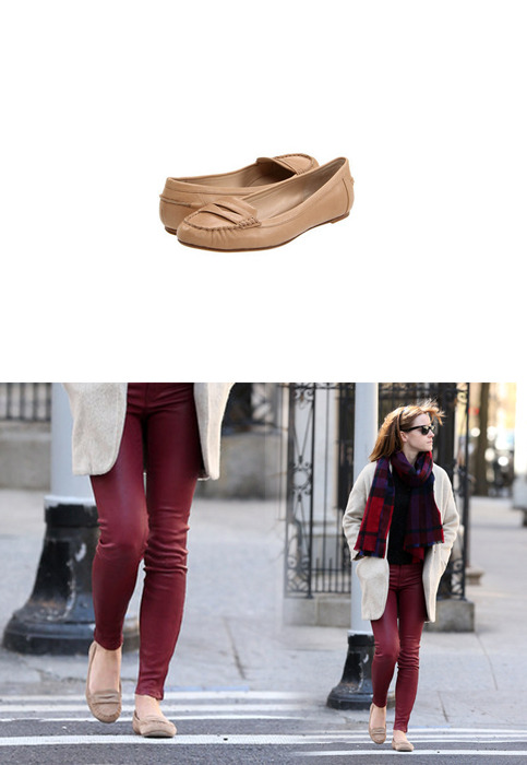 Emma wore a pair of Michael Kors Danett Flats while out in New York.Michael Kors Danett Flats - $93.01 (50% off!!)Wore with: Lucky Brand 'Charlie' Skinny Leather Pants & Topshop Premium Oatmeal Boyfriend Mohair Wool Mixed Coat & Ray-Ban Original Wayfarer 2140 Sunglasses
