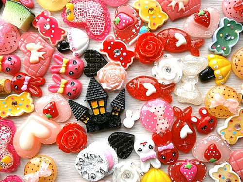 Kawaii Cabochons MIX 100 Set 4 DecoSweets http://www.etsy.com/listing/121053072/wholesale-kawaii-cabochons-mix-100-set-4
