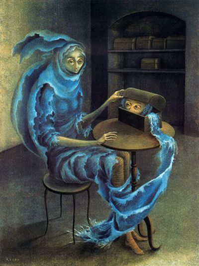 neon1986:  andymiau:  Encuentro, Remedios Varo 1960  Reblog. Varo was a true talent.