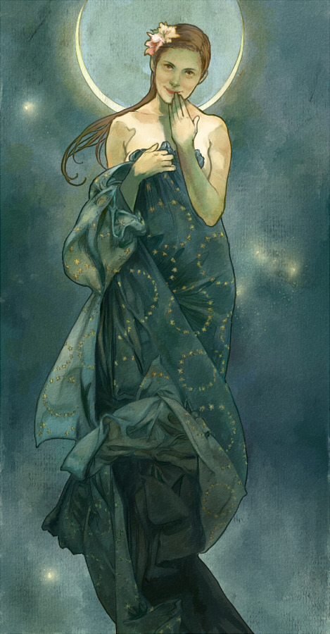 deducemysoul:  My entry for Let's Draw Sherlock, based on Mucha's The Moon: