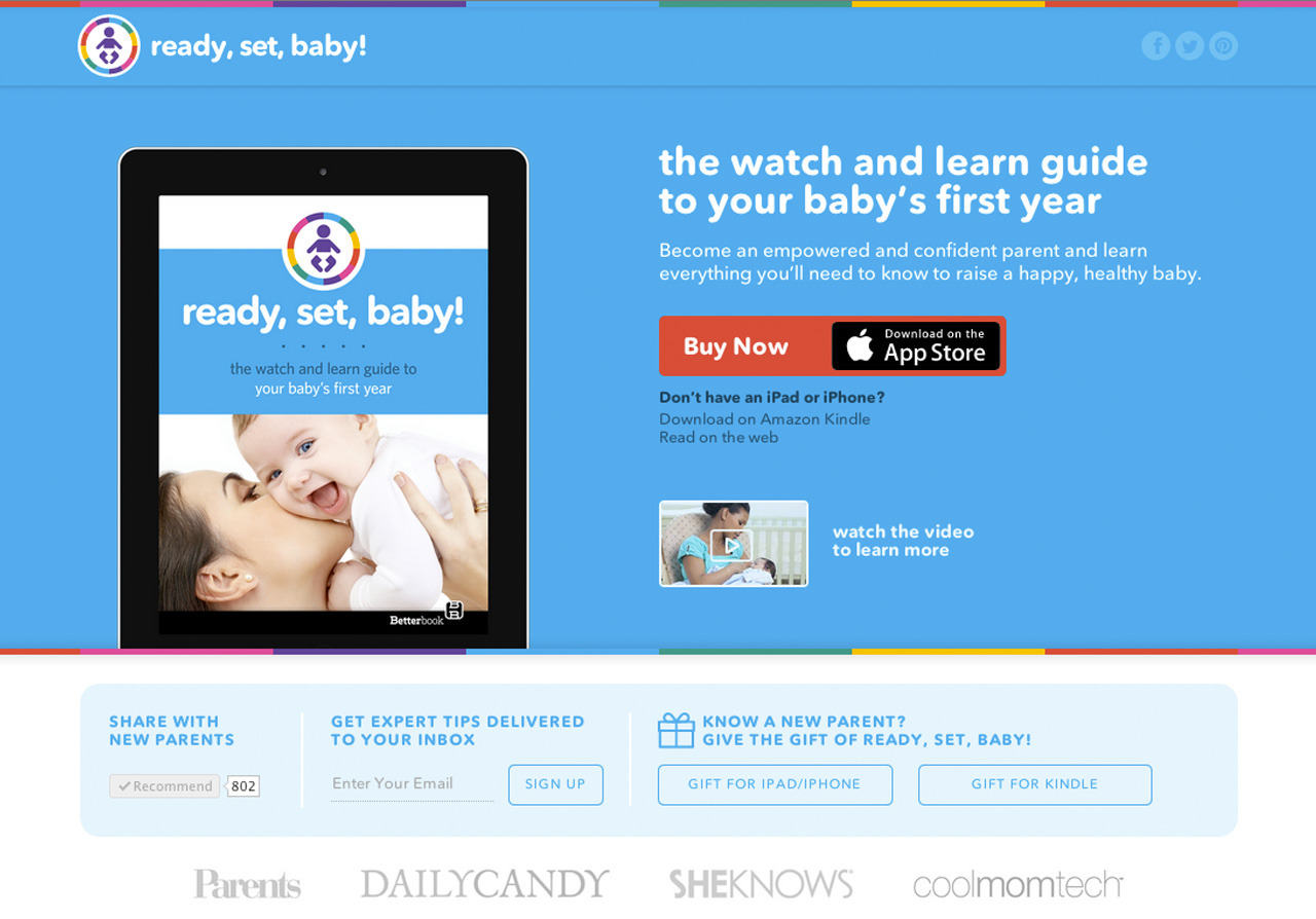readysetbaby.com Built marketing site for interactive parenting e-book, Ready, Set, Baby! at Open Air Publishing.
