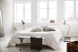 myidealhome:  bedroom with lamps from IKEA and bedspread from Lexington (via 1 Kindesign)   Nice