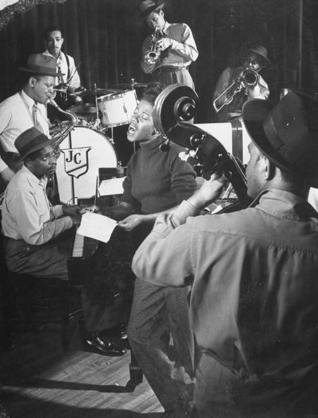 Sarah Vaughan performing with the J. C. Heard orchestra. (1947) Photo by Gjon Mili//Time Life Pictures/Getty Images)