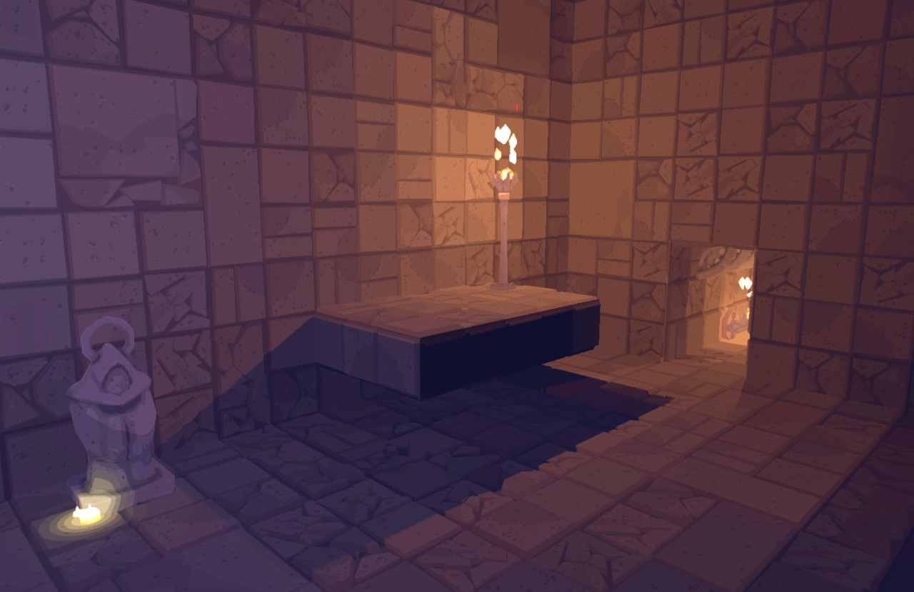 Finalizing the lighting style for Spire.  The room is lit per tile (kind of like old 2D roguelikes), and there are banded lights for highlights, like on the candle.