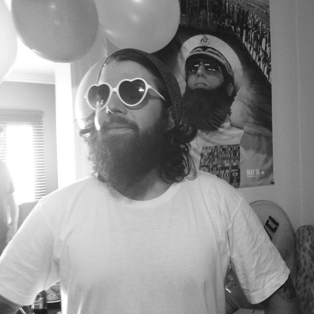 Happy cinco de drinko. #wehavebeards #beard #heart #balloons #house #whitetee #person #planetearth #breathingairworkswell #tothemoonmyfriends #eyesightisbetterthanhindsight #onedayiwillruletheuniverseliketheslightlysoberbeardedbossthatiamsometimes