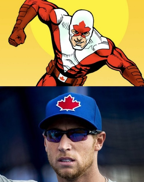 So it turns out the Blue Jays aren't the first ones to wear a maple leaf on their forehead. Captain Canuck pioneered the movement many years ago.
