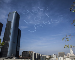 laughingsquid:  Comedian Hires Pilot to Skywrite a Joke Over Los Angeles