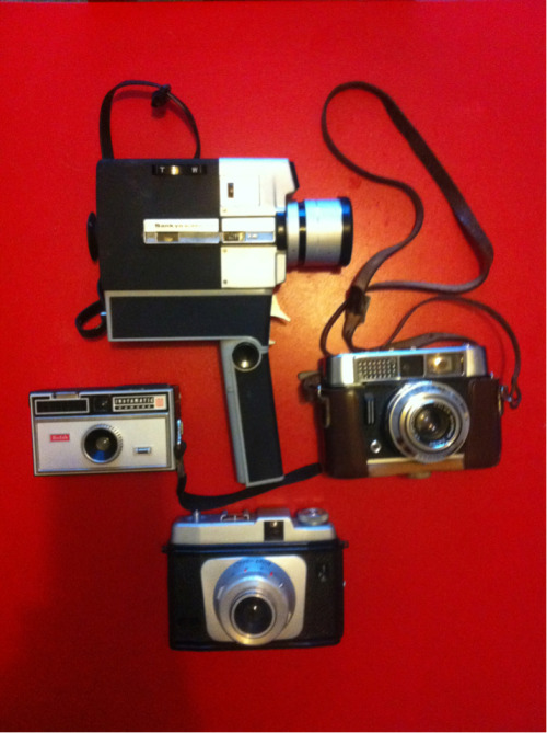 Must start using my old cameras. Anyone know anything about them?  Top: Sankyo Super CM 300 Left: Kodak Instamatic 100 Right: VoigHander Vito CLR Bottom: Certo-phot (not sure about the model)