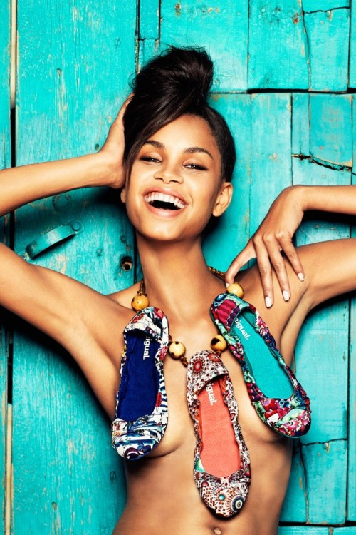 Brazilian model Daiane Sodré hits the beach with Cora Keegan for Desigual's Spring/Summer 2013 campaign, which can be seen on their website and outdoor billboards.