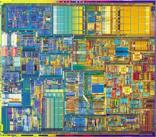 An Intel Pentium 4 chip is more colorful than you'd think.  Source: What Does a CPU Look Like? from Being Fluent & Faithful in a Digital World (Calvin College)  via scienceisbeauty