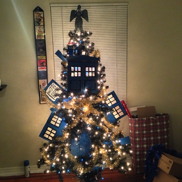 Done! I present to you my exploding TARDIS Christmas tree complete with a weeping angel topper. :D #doctorwho #whovian #christmas #tree #tardis #weepingangel  (at Raxacoricofallapatorius)