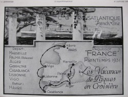 Vintage French cruise advertisement, L'Illustration, Jan. 1931
