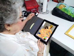"toinfinityandbeyonce:  Bought my Grandma an iPad. She's 84 and never had a tablet, and wanted it for ""art."" I bought ArtRage for her and left her alone with her new toy for 30 minutes. This is what I came back to."