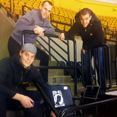 Rask, Krejci & Horton installed a POW/MIA seat @tdgarden prior to Military Appreciation Night #nhlbruins
