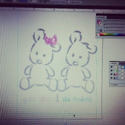 Working on a card and some art for my cousins twins who came into the world extra (13weeks) early.  #fillingthehospitalwithart (at Ms Matilda Designs)