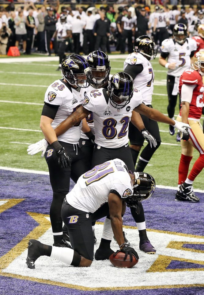 Ravens 34. 49ers 31. FINAL. Baltimore hands San Francisco its first Super Bowl loss EVER! Super Bowl XLVII by the numbers Power outage delays game for more than a half hour Love him or hate him, we'll all miss Ray Lewis Every commercial on demand Judgements: What we learned in the Superdome Sunday MVP Flacco comes up big on the biggest stage Jacoby Jones' 108-yard return is longest play in SB history Baltimore Sun's front page Power outage jolts Kapernick and Niners, but not enough Beyonce delivers in memorable halftime show Best photos from Super Bowl XLVII Jim Harbaugh upset with late calls Brothers embrace after the game Super Bowl as told by social media Buy Ravens championship gear now Super Bowl grades Breaking down Jones' TD reception frame-by-frame CBS News coverage of Super Bowl XLVII Postgame videos: Ray Lewis — Joe Flacco — John Harbaugh