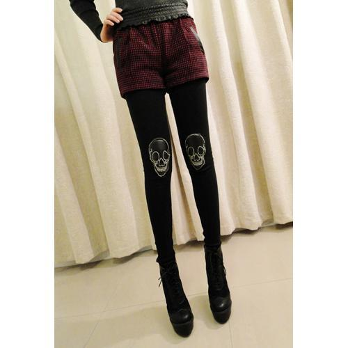 rainbowbuttcookie:  Shiny Skull Leggings $10.60