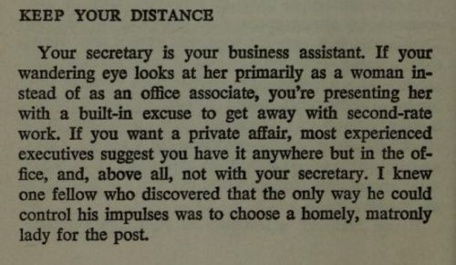 questionableadvice:  ~ Executive Etiquette, by Chester Burger, 1969via Open Library