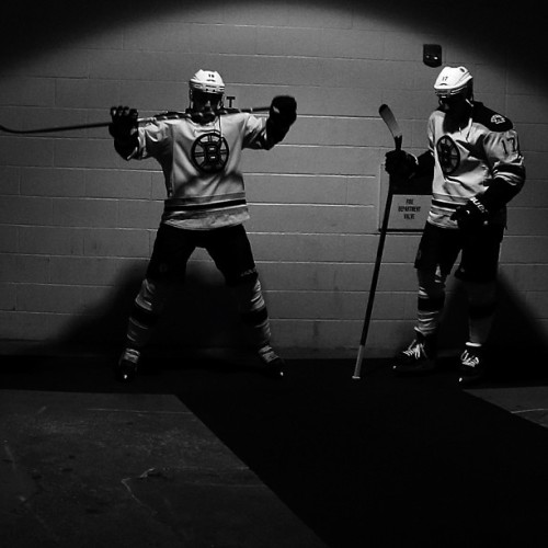 nhlbruins:  Tyler Seguin and Milan Lucic wait in the tunnel before they took the ice for Game 3 #nhlbruins