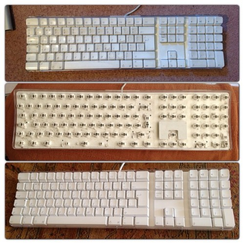 Progress and completion of Apple Pro Keyboard maintenance/cleaning #imacg4 #appleprokeyboard #applekeyboard