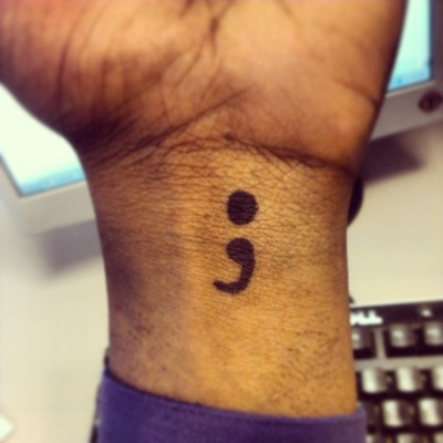 A day late but the message is still as powerful. A semicolon stands for when a writer chose not to end his sentence. You are the writers of your own story, never end it! Life may be hard but your not in it alone. Please repost and tag it as followed #semicolonproject416 #drexel #nsbe  (at 1515 Arch Street)