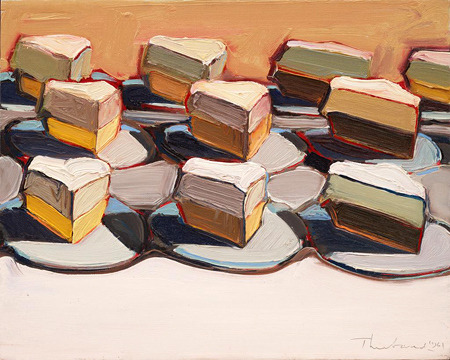 Wayne Thiebaud, Cut Meringues, 1961. Oil on canvas, 16 x 20 inches.