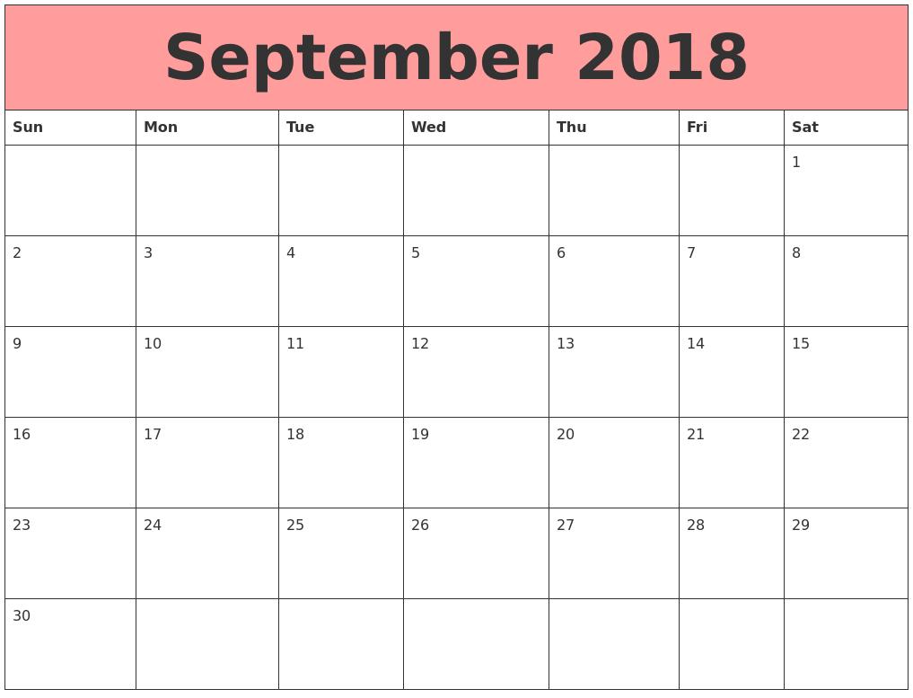 august 2018 bank holidays 2018 september calendar printable