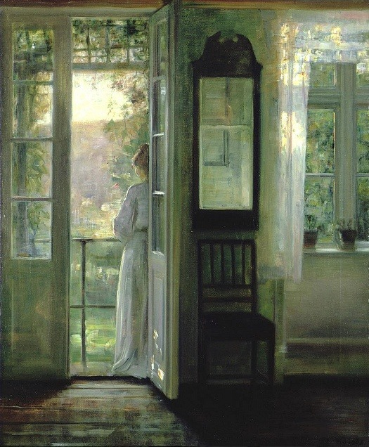 labellefilleart:  Girl standing on a Balcony, Carl Vilhelm Holsoe