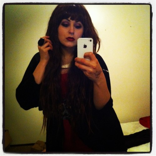 It's happening. #drunk #redlips #iphone #wig #brunette #longhair #jawbone #ring