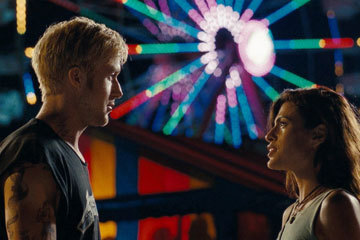 "The Place Beyond the Pines   Eva Mendes quickly surfaces as a fling (""Eva Mendes's nipples"" might be up for a supporting actress Oscar, so ardently do they strain and arch through her threadbare tanktops, they are a character unto themselves.) But Luke's a roadie, no one can settle him down.  Read full review here."