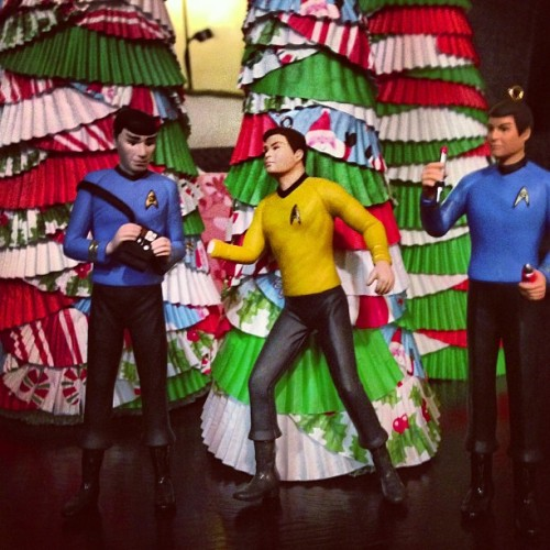 jmbillinger:  Capt. Kirk, Mr. Spock, and Dr. McCoy want to wish you a very merry Christmas.  Some of our many nerd holiday decorations.