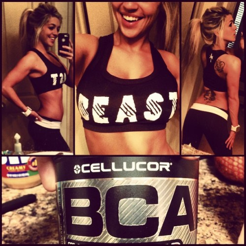 blondevsworld:  Aaaah, I love my new BEAST sports bra from Anonymous Talents!!  (anonymoustalents.com) I'm typically not confident enough to strut around the gym in a bra, but today—Im about to slam out some HIIT in this baby. Prepped with my cellucor bcaas, which give an phenomenal boost of energy—I've been using it even without preworkout, and I'm ready to rock!  (Cellucor.com code 'blondevsworld' for 20% off, free shipping!)